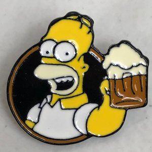 Homer Simpson The Simpsons Beer Pin Lapel Cartoon